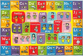 """KC CUBS Playtime Collection ABC Alphabet ASL Sign Language Educational Learning Area Rug Carpet for Kids and Children Bedrooms and Playroom - 3' 3"""" x 4' 7"""""""