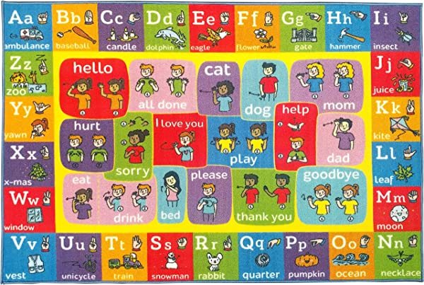 KC CUBS Playtime Collection ABC Alphabet ASL Sign Language Educational Learning Area Rug Carpet For Kids And Children Bedrooms And Playroom 5 0 X 6 6