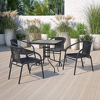 Flash Furniture 4 Pack Black Rattan Indoor-Outdoor Restaurant Stack Chair
