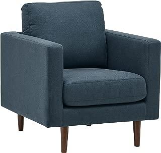 Rivet Revolve Modern Upholstered Armchair with Tapered Legs, 32.7