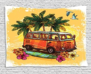 Ambesonne Surf Tapestry, Hippie Classic Old Bus with Surfboard Freedom Holiday Exotic Life Sketchy Art, Wide Wall Hanging for Bedroom Living Room Dorm, 60