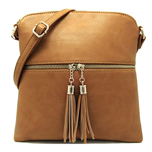 88f8cfb0a38cb2 Women's Rich Faux Leather Light Weight Medium Crossbody Bag and Large  Capacity Purse Organize with Adjustable