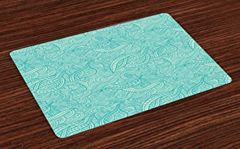 Ambesonne Aqua Place Mats Set of 4, Vintage Botanic Nature Leaves Veins Swirls Ivy Mosaic Inspired Image Print, Washable Fabric Placemats for Dining Room Kitchen Table Decor, Turquoise and White