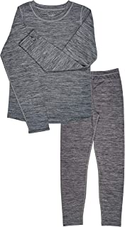 Trimfit Girls Space Dye Long-Sleeve w/Thumbholes Long Underwear Thermal Set, Grey, Small (4-6)