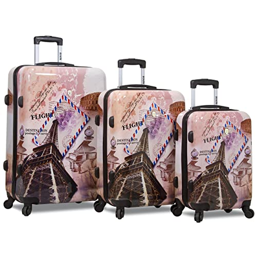Rolite City Stamping Lightweigt 3-pcs Expandable Hardshell Spinner Luggage Set