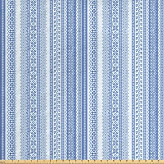 Ambesonne Nordic Fabric by The Yard, Vertical Geometric Pattern Scandinavian Style Chevron Zigzag Lines Flowers, Decorative Fabric for Upholstery and Home Accents, 2 Yards, Pale Blue