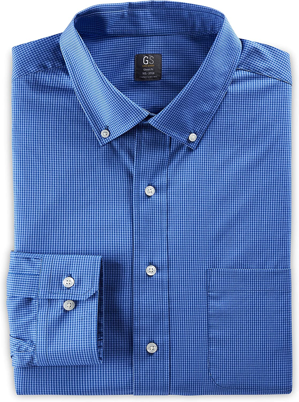 DXL Gold Series Big and Tall Small Gingham Stretch Dress Shirt, Blue