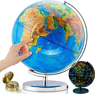 جهان گلوب با صورتهای درخشان روشن - 13 اینچ روشنایی جهانی برای کودکان و بزرگسالان - زمین تعاملی کره زمین اسباب بازی های آموزشی بسیار خوبی ، لوازم اداری ، دکوراسیون میز معلم را ایجاد می کند ، بیشتر توسط Get Life Basics
