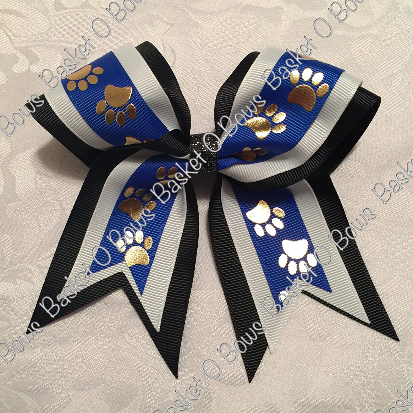 Small Bow ~ ROYAL BLUE with GOLD PAWS Hair Bow ~ 3-layer ~ Made to Order