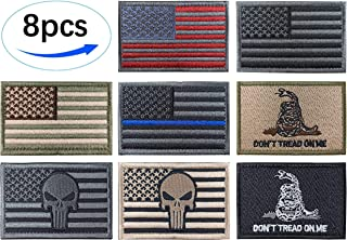 JBCD 8 Pcs Thin Blue Line American Flag Patch US USA Patches Pride Moral Patch Punisher Skull Clothes Patch Backside Tactical Patches for Military Uniform Tactical Bag Jacket Team Backpack Hat