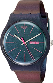 Swatch 1607 Archi-Mix Quartz Silicone Strap, Blue, 19 Casual Watch (Model: SUON708)