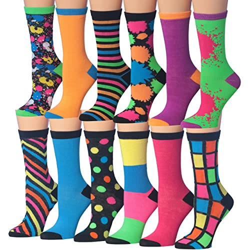 d0336a5a3 Tipi Toe Women s 12 Pairs Colorful Patterned Crew Socks