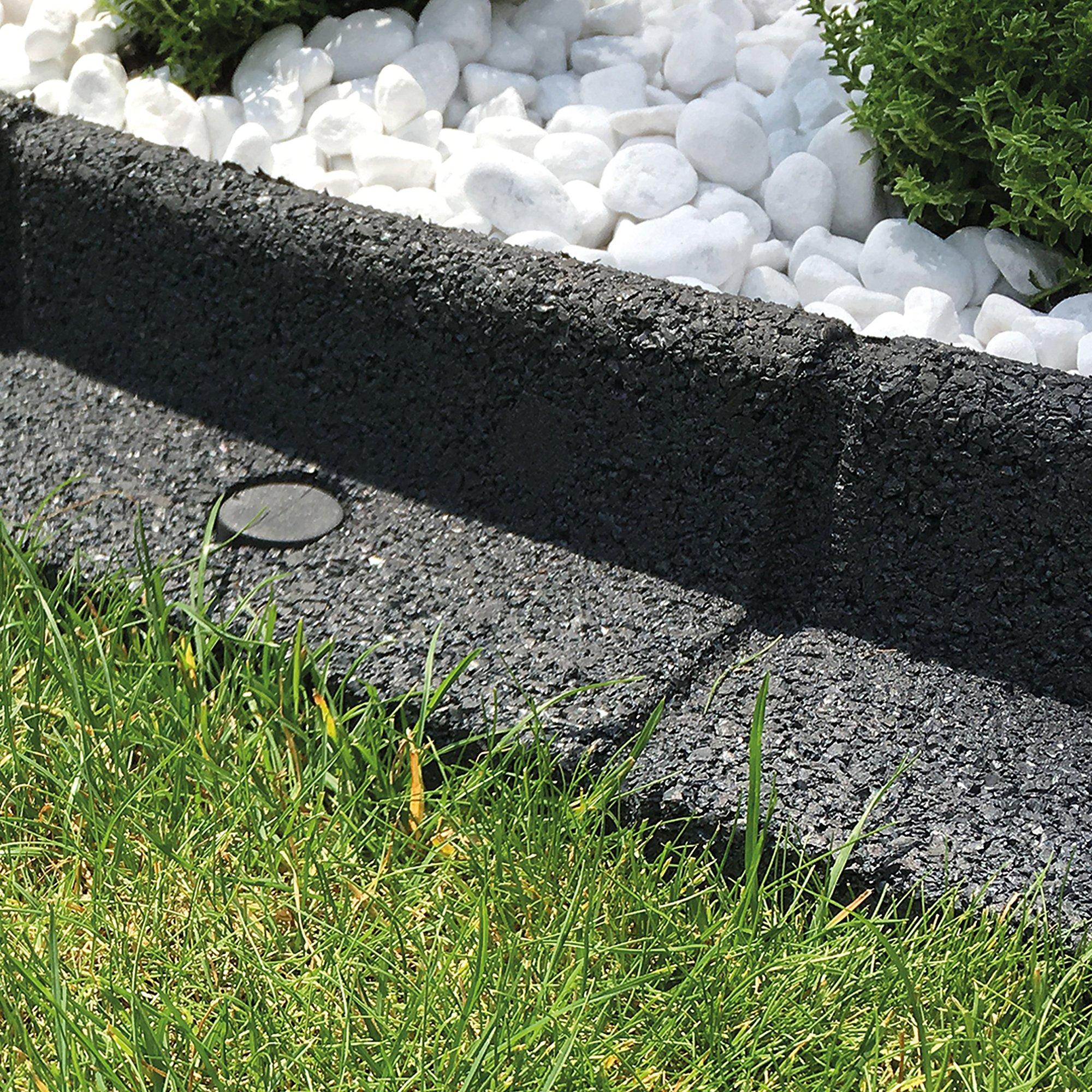 Clifford James Borde de borde para jardín, flexible, forma de pared; respetuoso con el medio ambiente, goma reciclada para césped y patio, negro: Amazon.es: Jardín