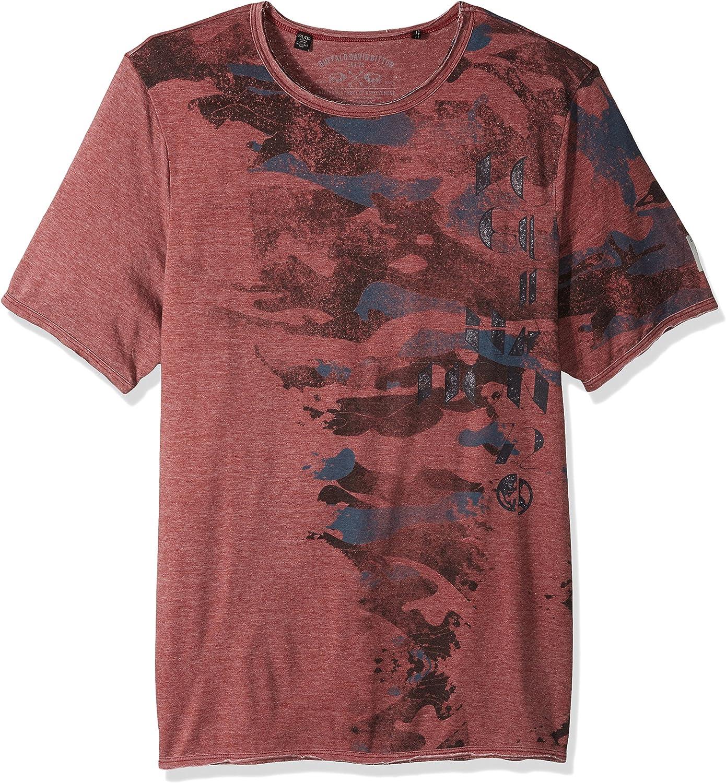 Buffalo David Bitton Mens Tarun Ss Burnout Fabric Crewneck Graphic Fashion T-Shirt Shirt