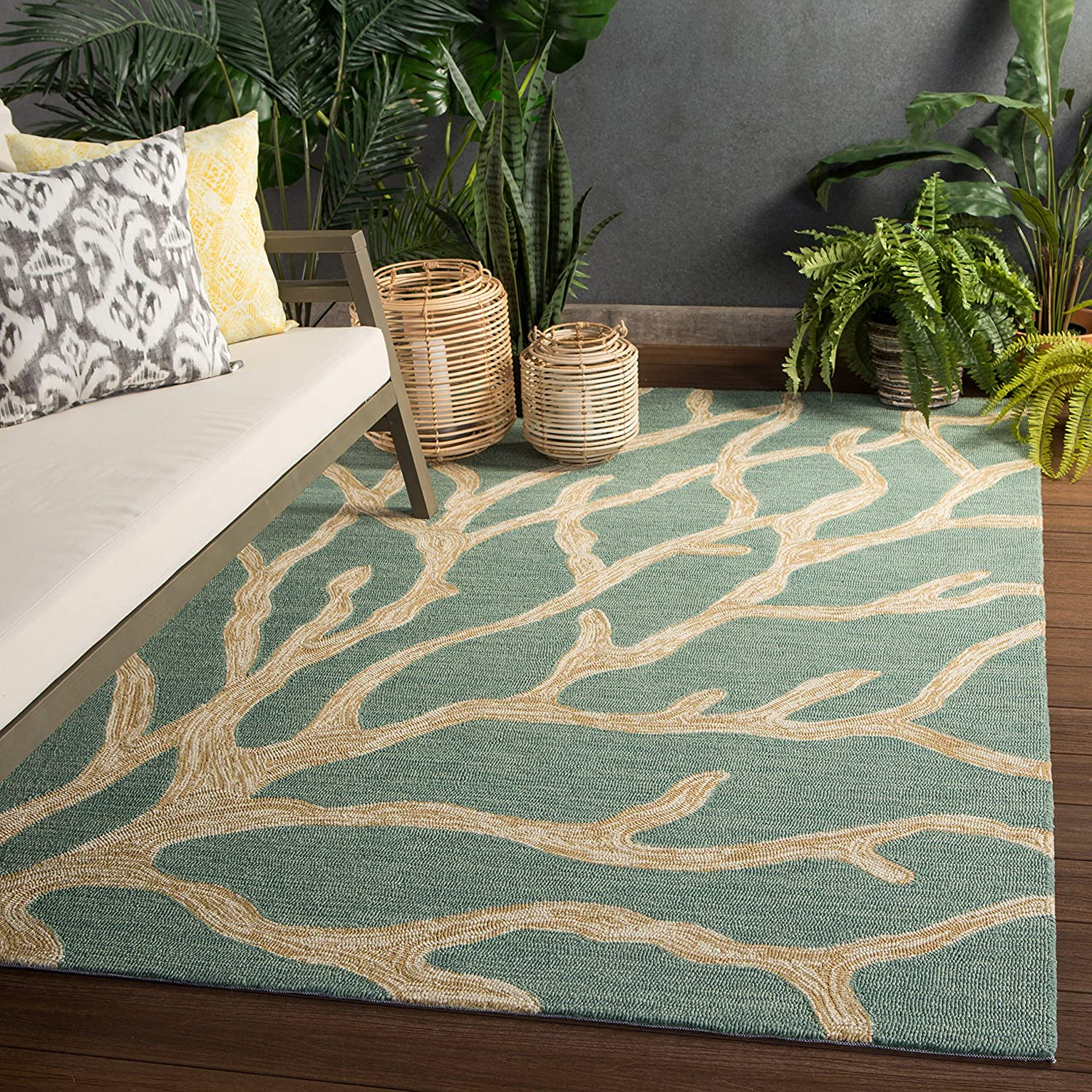 Jaipur Living Coral Indoor Outdoor Max 59% OFF Ranking TOP17 Area Novelty Blue Rug 7'6