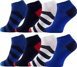 Vincent Creation®, 8 Pares Calcetines cortos para hombre con rayas
