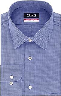 CHAPS Mens Dress Shirts Regular Fit Check Spread Collar