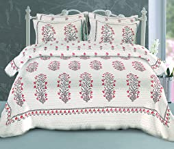 Healing Crystals India King Size Double Bed Pure Cotton 220 TTC Rajasthani Bedsheet with Pillow Cover