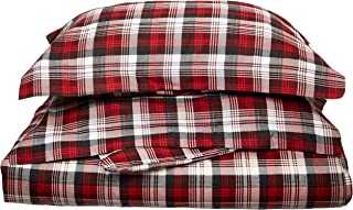 Woolrich Tasha Duvet Cover Full/Queen Size - Red, Plaid Duvet Cover Set – 3 Piece – Cotton Flannel Light Weight Bed Comforter Covers