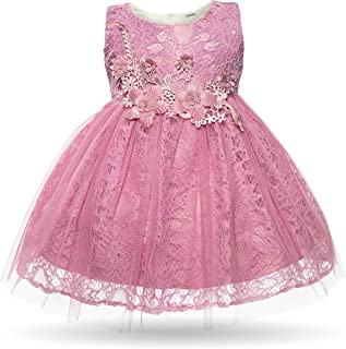 Baby Girl Dress Infant Flower Lace Wedding Party Dresses for 0-24 Months