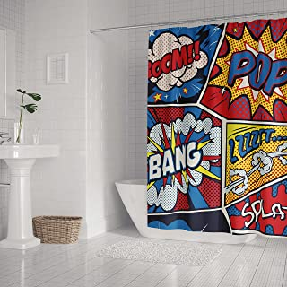 LifeCustomize Colorful Pop Art Retro Comic Shower Curtain 60x72 Inch Polyester Waterproof Bathroom Curtain with Hooks