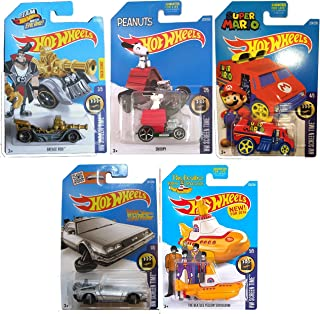 Hot Wheels 2016 HW Screen Time 5-Car Set Back to the Future Delorean Time Machine Hover Mode, Cool One Super Mario, Peanuts Snoopy, Team Hot Wheels Grease Rod Treasure Hunt, & Beatles Yellow Submarine