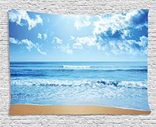 Ambesonne Tropical Tapestry, Paradise Beach with Sea Waves in a Bright Day Idyllic Ocean Island Summer Scenery, Wall Hanging for Bedroom Living Room Dorm, 80WX60L Inches, Baby Blue