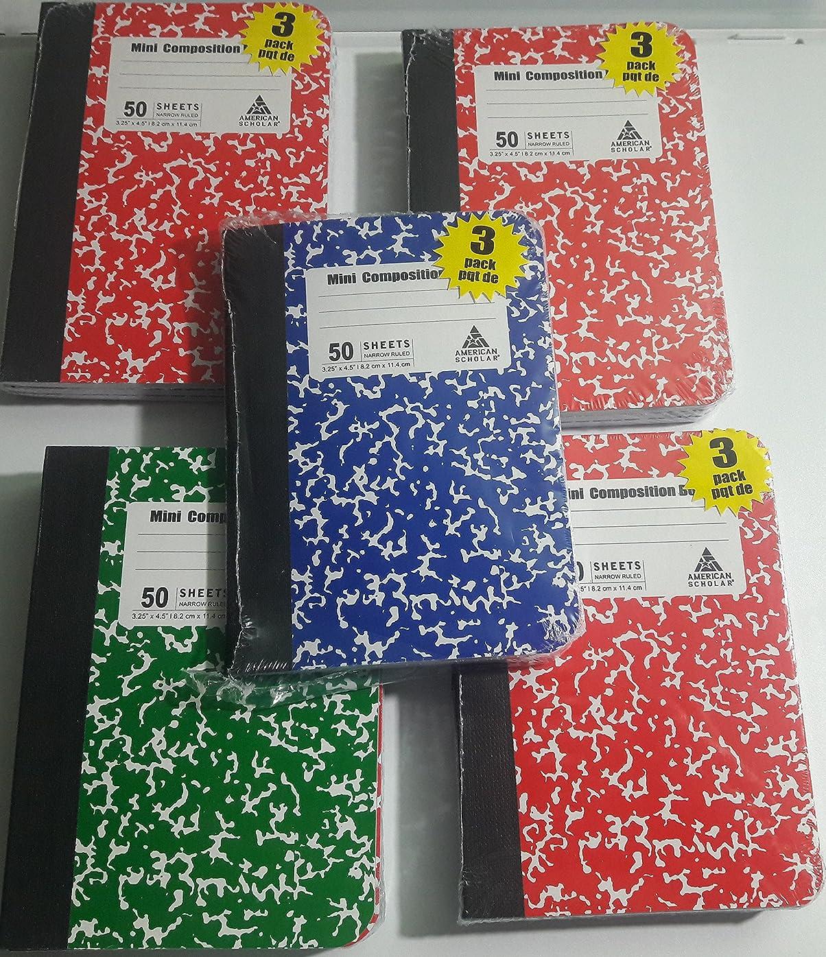 イタリック南方のコミットMiniコンポジションブック、グリーン、レッド、ブルー、バルク15-ct、合計750ページ レッド