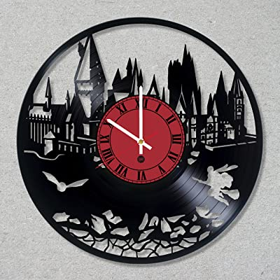 Vinyl Record Wall Clock Harry Magic Potter Hogwarts decor unique gift ideas for friends him her