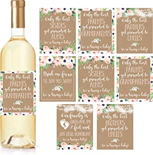 8 Pregnancy Announcement Gifts, Announcing New Baby Reveal, Funny Wine Bottle Labels or..