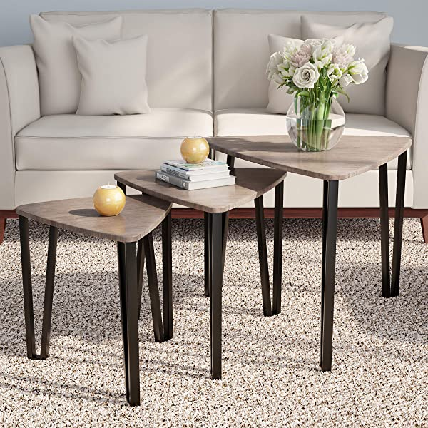 Home 80 FNT 6 Lavish Nesting Set Of 3 Modern Woodgrain Look For Living Room Coffee Tables Or Nightstands Contemporary Accent Decor Furniture