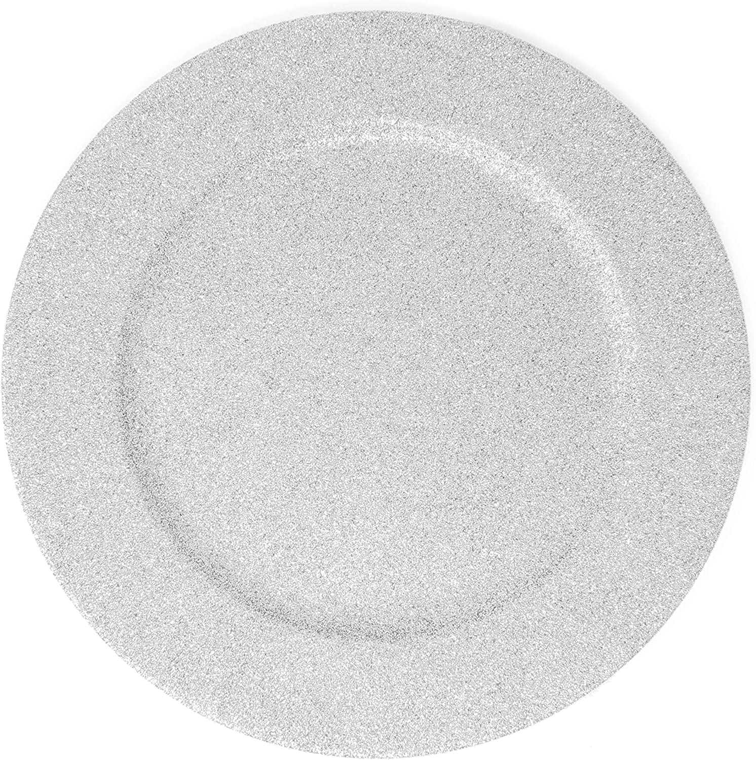 Glitter Sales Charger Plates - Set of Made Sales 6 Plastic Thick Silv