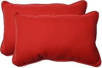 Pillow Perfect Outdoor/Indoor Tweed Rectangular Throw Pillow (Set of 2), Red