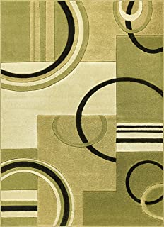 Echo Shapes & Circles Light Green Modern Geometric Comfy Casual Hand Carved Area Rug 8x10 8x11 ( 7'10