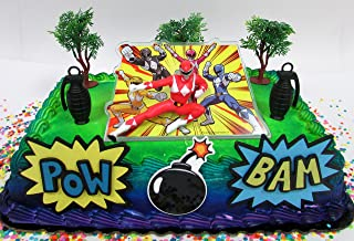 Power Rangers Birthday Cake Topper Set Featuring Figure and Decorative Themed Accessories
