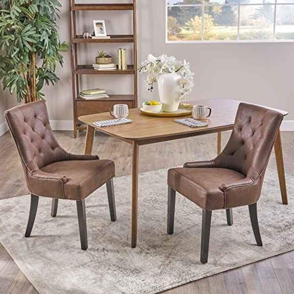 Christopher Knight Home 304850 Sarah Traditional Microfiber Dining Chairs Set Of 2 Dark Brown