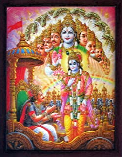 Handicraft Store Lord Krishna Giving Lesson to Arjuna in Mahabharata Battle Field, A Religious & Elegant Poster with Frame, Must for Office/Home Decor/Religious Purpose