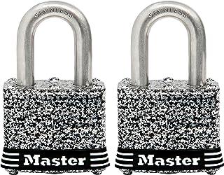 Master Lock Padlock, Laminated Stainless Steel Lock, 1-9/16 in. Wide, 3SST (Pack of 2-Keyed Alike)