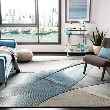 Amazon Com Safavieh Hollywood Collection Hlw715d Mid Century Modern Non Shedding Stain Resistant Living Room Bedroom Area Rug 8 X 10 Grey Teal Furniture Decor
