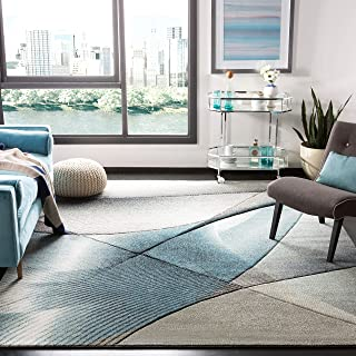 Safavieh Hollywood Collection HLW715D Grey and Teal Mid-Century Modern Abstract Area Rug (6'7