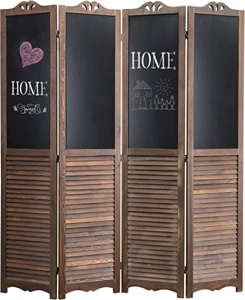 MyGift 4 Panel Rustic Wood Louvered Room Divider With Chalkboard Panels Two Way Hinges