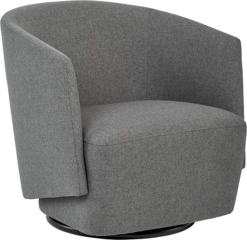 Rivet Coen Contemporary Modern Upholstered Accent Swivel Chair 30 W Charcoal