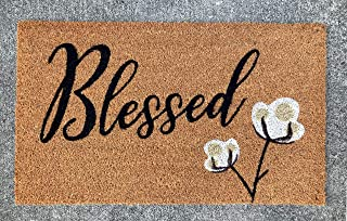Avera Products Blessed Cotton Bloom Door Mat, All Natural Coir Fiber with PVC Backing, 17x29 ADR016