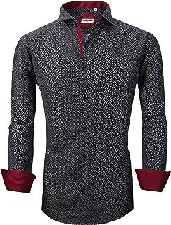 قمصان رسمية مطبوعة للرجال من Markalar قمصان رسمية سهلة العناية بمقاس عادي بأكمام طويلة كاجوال بأزرار سفلية للرجال