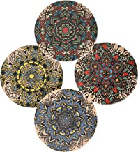 Soteria Home Coaster Set for Drinks with Cork Back - Super Moisture Absorbent in Floral Design Suitable for Glass, Mugs, Coffee Cups, 4 Pieces
