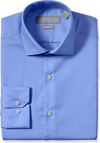 Perry Ellis Hommes's Slim Fit Non-Iron Cotton Robe Shirt, bleu Solid, 15.5 32 33