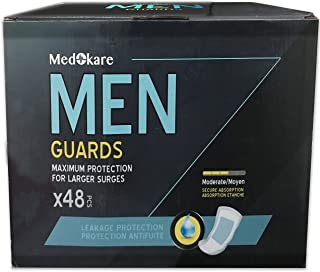 Medokare Incontinence Pads for Men - 48pack Discreet Maximum Absorbency Men Pads, Individually Wrapped Cup Bladder Control Pads, Hospital Grade Men Guards Urine Leakage Protection, Shields for Men