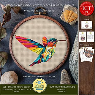 Mandala Hummingbird #K309 Embroidery Cross Stitch Kit   Funny Animals Stitching   How to Cross Stitch   Cross Stitch Designs   Embroidery Designs