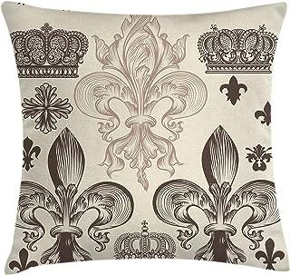 Lunarable Fleur De Lis Throw Pillow Cushion Cover, Heraldic Pattern with Fleur-de-Lis and Crowns Tiara Coat of Arms Knight, Decorative Square Accent Pillow Case, 18