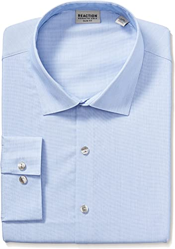 Kenneth Cole Reaction Hommes's Technicole Slim Fit Stretch Solid Spread Collar Robe Shirt , bleu Jay, 15.5  Neck 34 -35  Sleeve